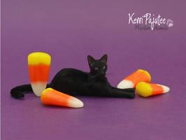 Miniature 1:12 scale Cat Sculpture -- Bagheera by Pajutee