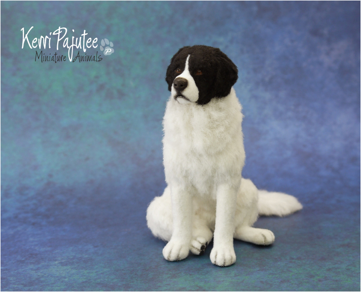 Miniature 1:12 scale Landseer dog by Pajutee
