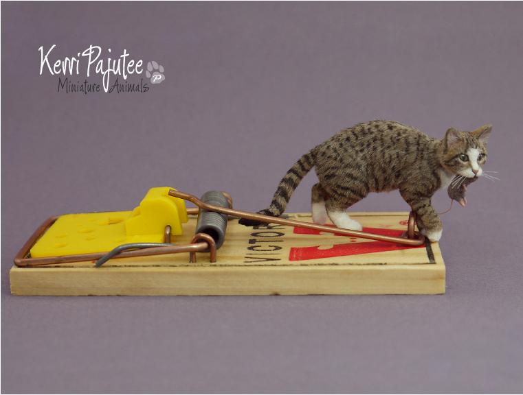 Miniature 1:12 Cat sculpture -- Mousetrap by Pajutee