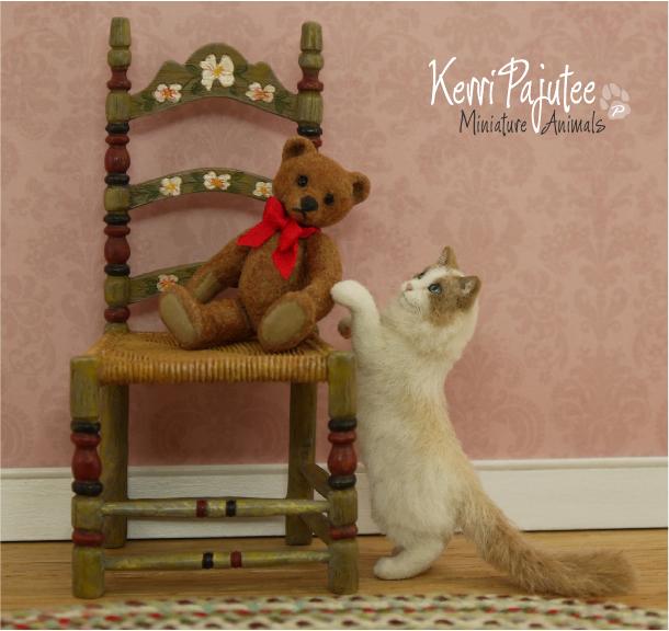 Miniature 1:12 Ragdoll Cat sculpture -- Tassel by Pajutee