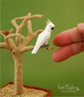 Miniature 1:12 Cockatoo sculpture by Pajutee