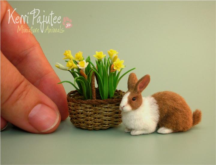 Miniature Dutch Rabbit Sculpture by Pajutee