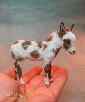 Miniature Spotted Burro Foal sculpture
