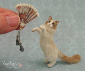 Miniature Ragdoll Cat sculpture by Pajutee