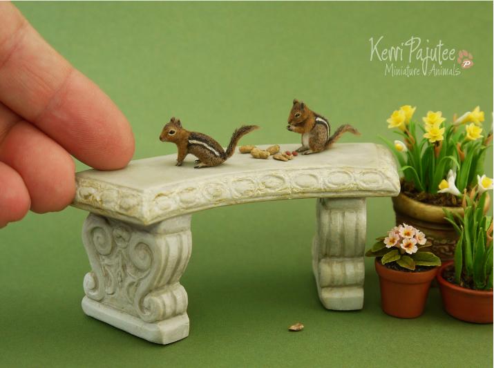 Miniature Golden-mantled ground squirrel sculpture by Pajutee