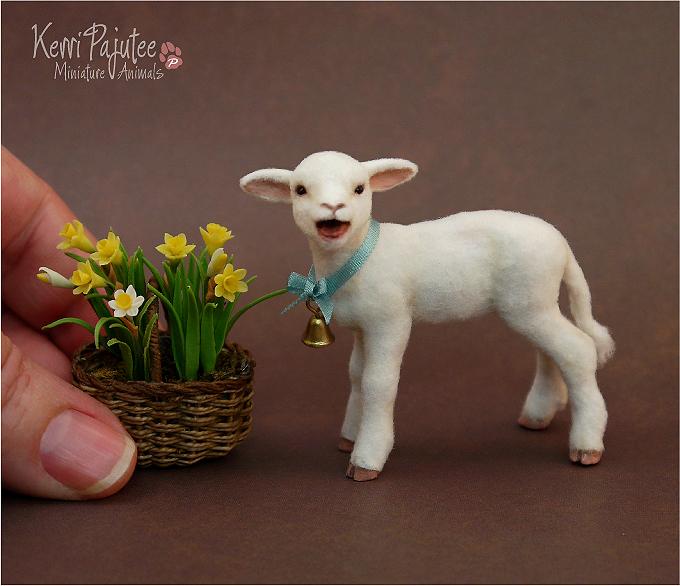 Miniature Little Lamb Sculpture by Pajutee