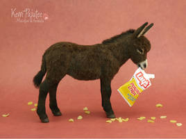 Miniature Donkey Sculpture -Polymer clay and fiber by Pajutee