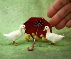 Miniature Pekin Duck Family Sculptures