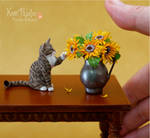 Miniature Tabby Cat sculpture by Pajutee