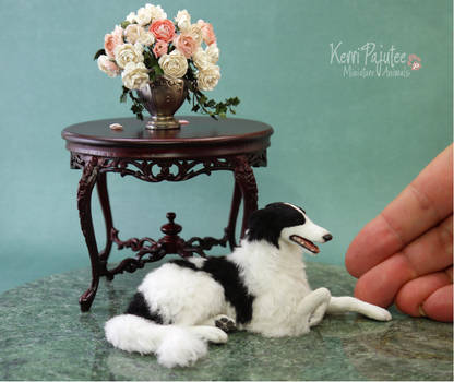 Miniature scale Borzoi sculpture...