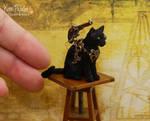 Miniature Steampunk Cat Sculpture
