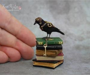 Miniature Steampunk Crow Sculpture