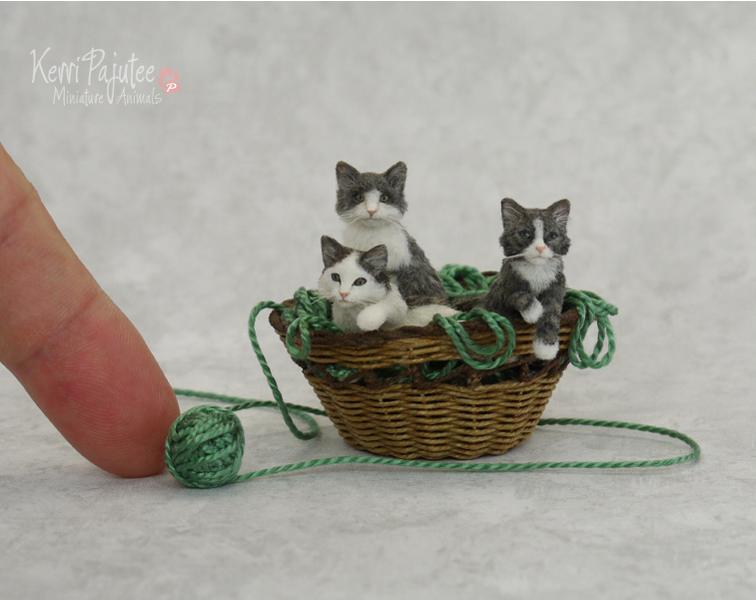 Miniature Basket of Kitten sculptures by Pajutee
