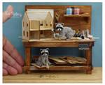 Miniature Raccoon sculptures