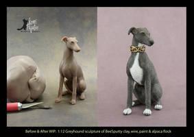 WIP miniature 1:12 scale Greyhound sculpture