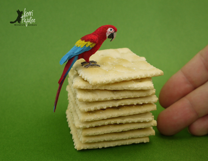Miniature Scarlet Macaw sculpture by Pajutee