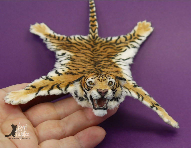 Miniature Tiger Skin Rug Sculpture By Pajutee ...