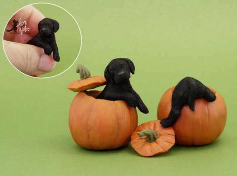 Miniature Black Lab Pup sculptures