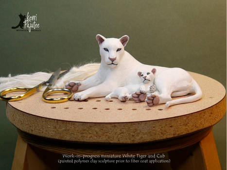 WIP - Miniature White Tiger with Cub sculpture