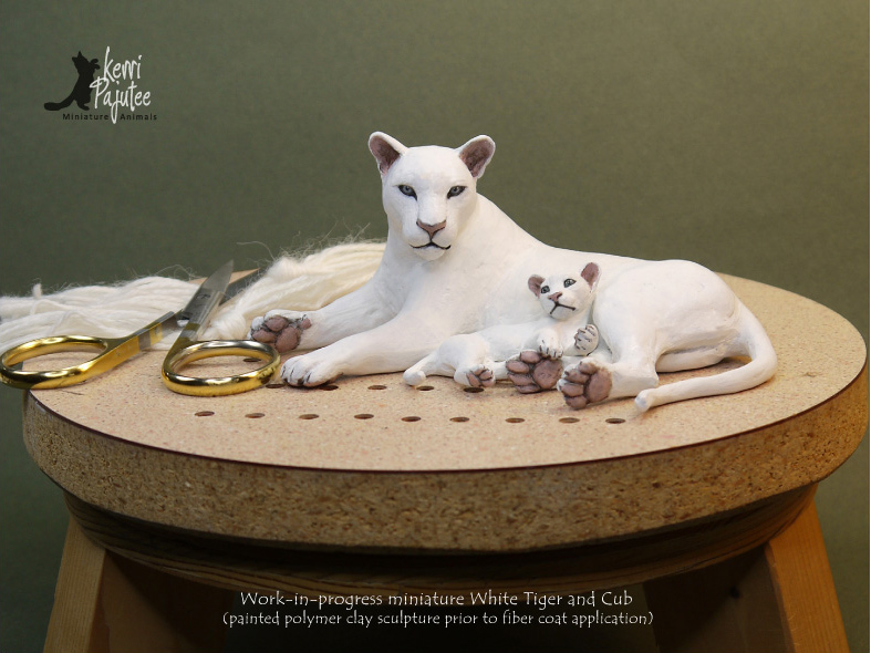 WIP - Miniature White Tiger with Cub sculpture by Pajutee