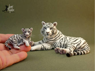Miniature White Tiger sculptures w/ furry coats by Pajutee