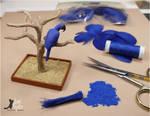 WIP Miniature Hyacinth Macaw sculpture