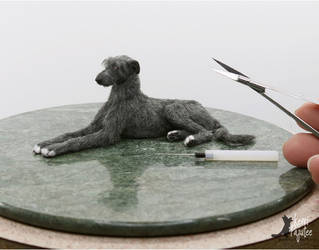 Miniature Deerhound Sculpture by Pajutee