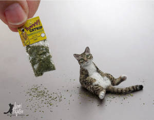 Miniature Chillin Tabby Cat sculpture