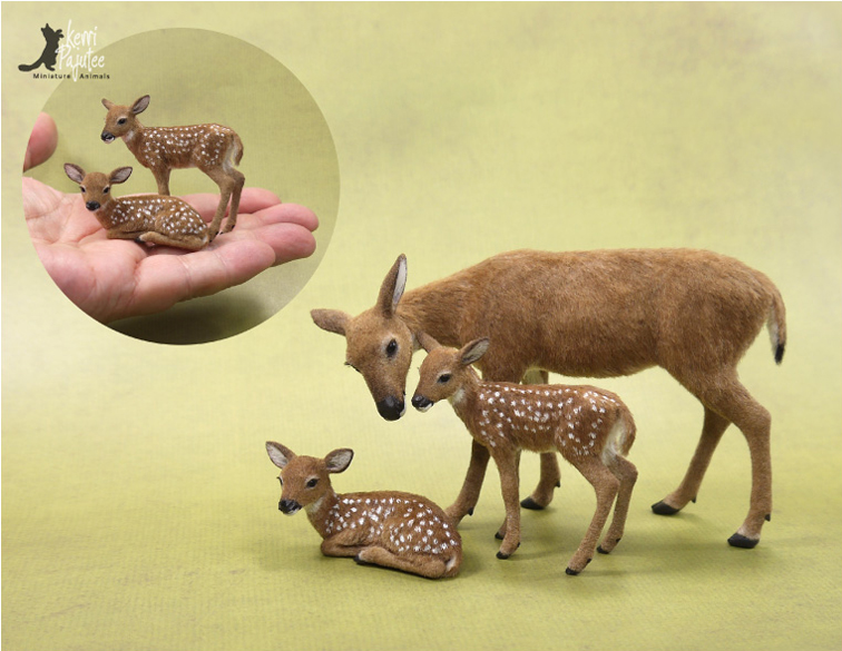 Whitetail Doe and Fawns miniature sculpture by Pajutee