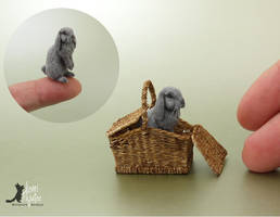 Miniature Lop Rabbit sculpture by Pajutee