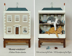 Homewreckers - 1:144 scale house with 1:12 cats