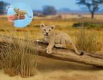 Miniature 1:12 Lion Cub sculpture
