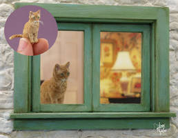 Dollhouse Miniature Tabby Cat Sculpture by Pajutee