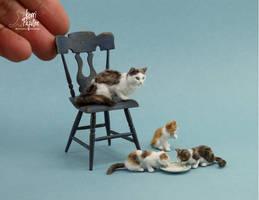 Miniature Cat and Kitten sculptures