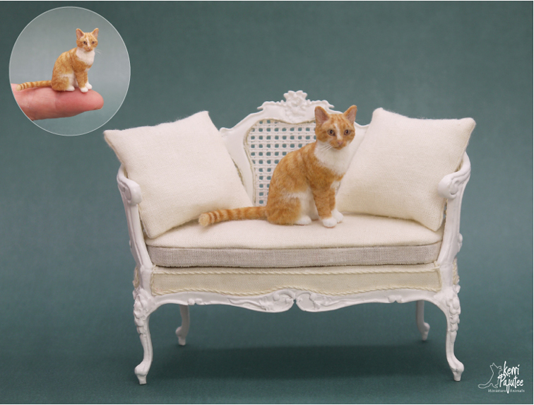 Dollhouse Miniature Cat sculpt by Pajutee