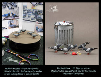 Miniature 1:12 Pigeon sculptures by Pajutee