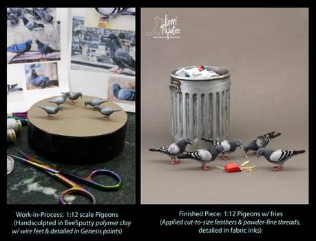 Miniature 1:12 Pigeon sculptures