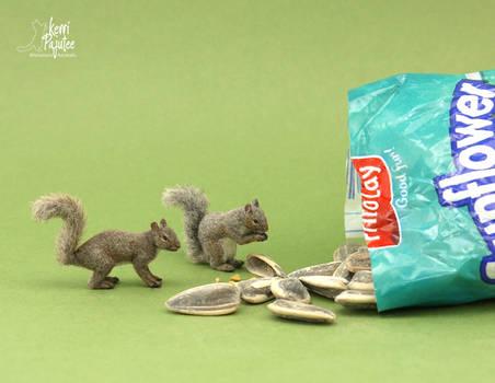 Miniature Eastern Grey Squirrel sculptures