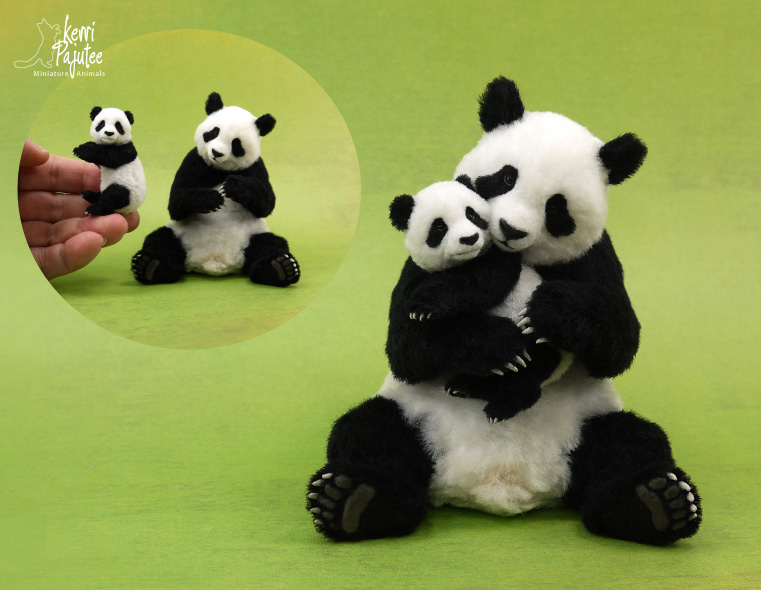 Panda Bear sculpture of polyclay and fiber