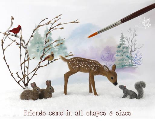 Dollhouse Miniature Woodland Animal sculptures