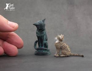 Miniature Bastet and Egyptian Mau sculpture