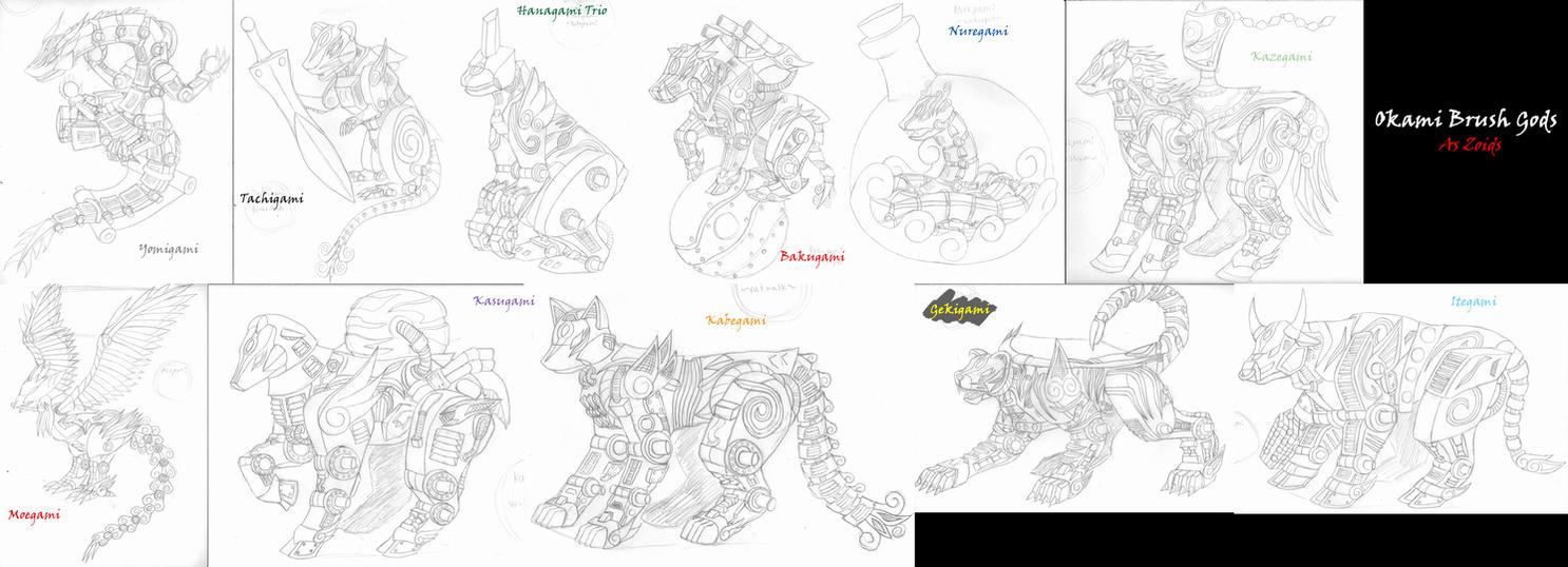 Zoids- 13 Brush Gods Sketches by MidnightLiger0