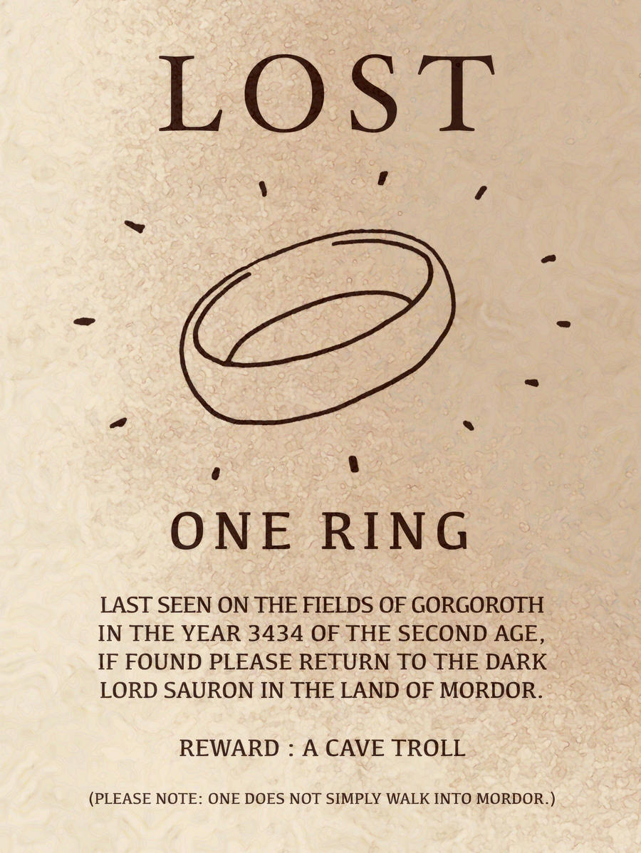 Sauron Ring Poem