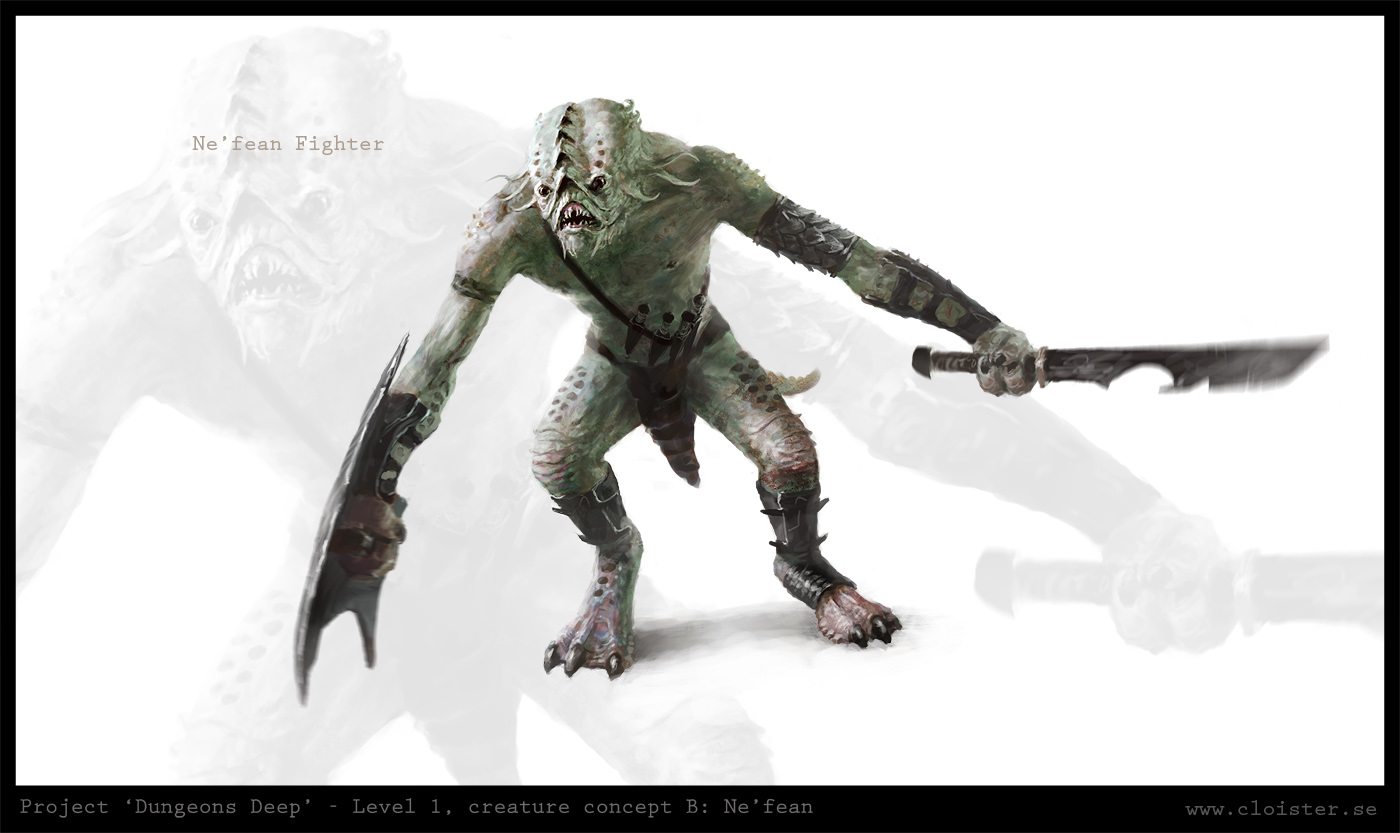 Dungeon level 1 - creature concept B: Ne'fean by Cloister