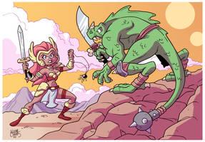 Warrior woman vs Lizard Man by BezerroBizarro