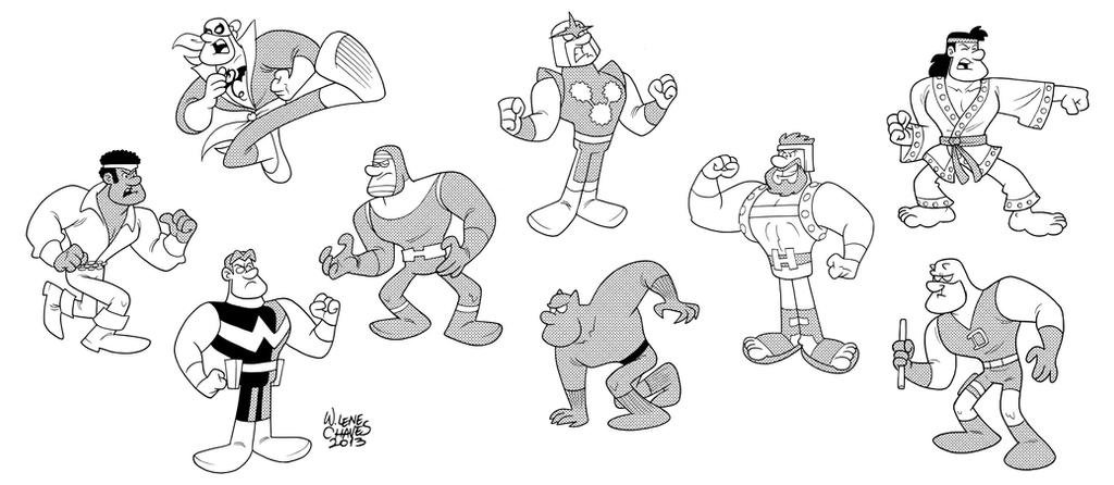 Nine Random Marvel Heroes by BezerroBizarro
