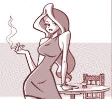 woman smoking by BezerroBizarro