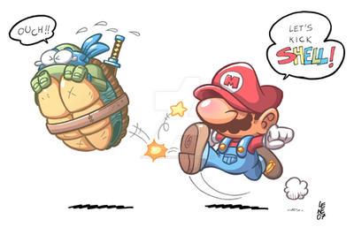 Mario Kicks Shell by BezerroBizarro