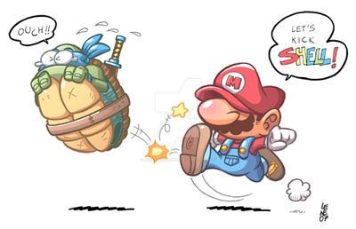 Mario Kicks Shell