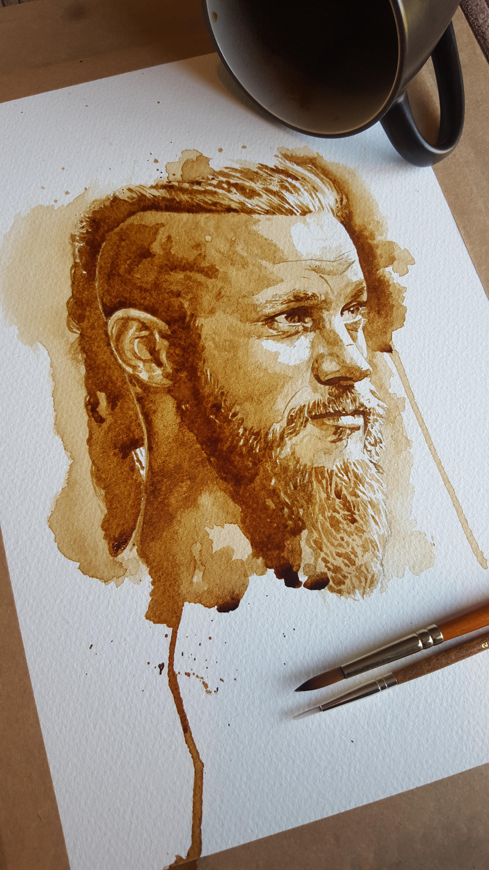 Ragnar Lothbrok coffee art